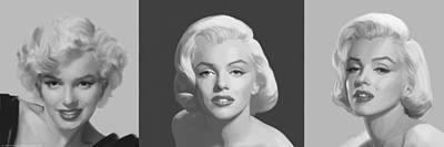 Portrait Of Marilyn Monroe Painting - Marilyn Trio by Chris Consani