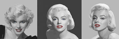 Portraits Of Celebrities Painting - Marilyn Trio Red Lips Blue Eyes by Chris Consani