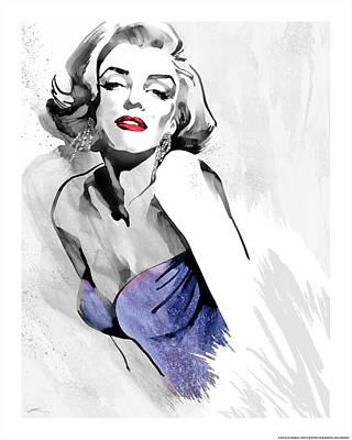 Portrait Of Marilyn Monroe Painting - Marilyn's Pose Purple Dress by Ellie Rahim