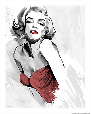 Portrait Of Marilyn Monroe Painting - Marilyn's Pose Red Dress by Ellie Rahim