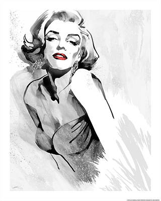 Portrait Of Marilyn Monroe Painting - Marilyn's Pose Red Lips by Ellie Rahim