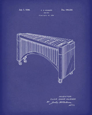 Drawing - Marimba 1936 Patent Art Blue by Prior Art Design