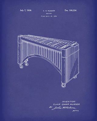Drawing - Marimba 1936 Patent Art Blue by Prior Art Design