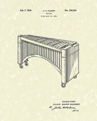 1936 Drawing - Marimba 1936 Patent Art by Prior Art Design