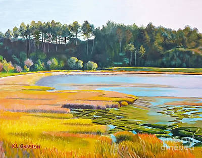 Art Print featuring the painting Marin County Marsh by K L Kingston