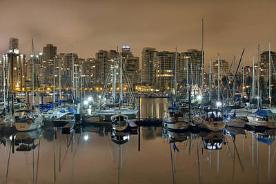 Marina Along Stanley Park In Vancouver Bc Art Print by David Gn