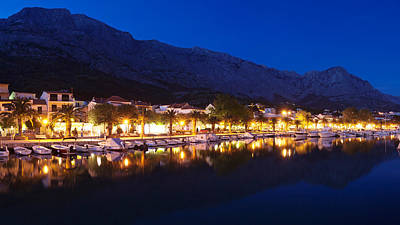 Marina At Night, Baska Voda, Biokovo Art Print by Panoramic Images