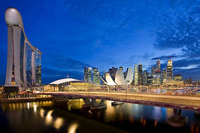 Photograph - Marina Bay Blue Hour by Ng Hock How