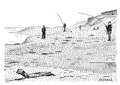 Pointillist Drawing - Marina Beach Fishermen by Joseph Juvenal