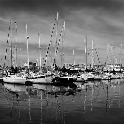 Photograph - Marina Boats In Victoria British Columbia Black And White by Ben and Raisa Gertsberg