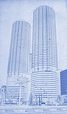 Chicago Skyline Mixed Media - Marina City From Across The River Chicago Illinois Blueprint by MotionAge Designs