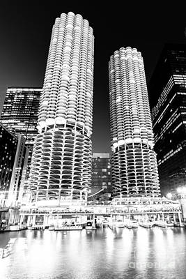 City Scenes Royalty-Free and Rights-Managed Images - Marina City Towers at Night Black and White Picture by Paul Velgos