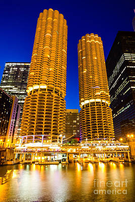 Marina City Towers At Night  Picture Art Print by Paul Velgos