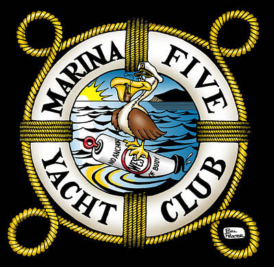 Wall Art - Digital Art - Marina Five Yacht Club by Bill Proctor