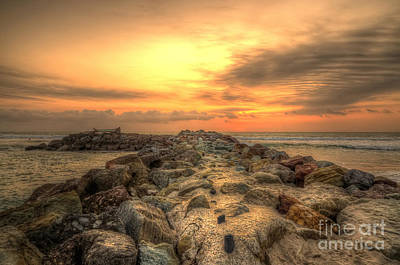 Marina Park Beach Sunset Art Print by Eddie Yerkish
