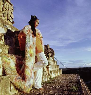 Photograph - Marina Schiano Wearing A Painted Coat by Henry Clarke