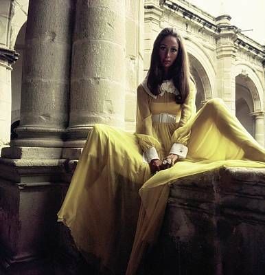 Photograph - Marina Schiano Wearing A Yellow Dress by Henry Clarke