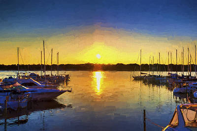 Marina Sunset Art Print by Five Star Photographics