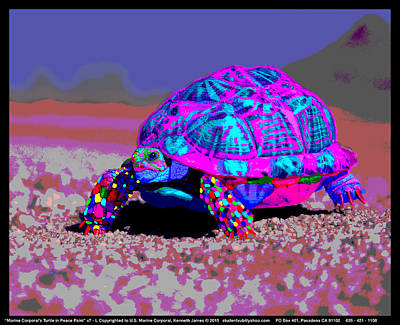 Comic Character Paintings - Marine Corporals Turtle in Peace Paint v9 by Kenneth James