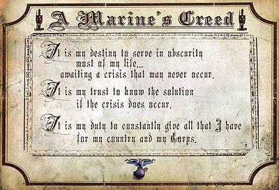 Recruiting Digital Art - Marine Creed by Annette Redman
