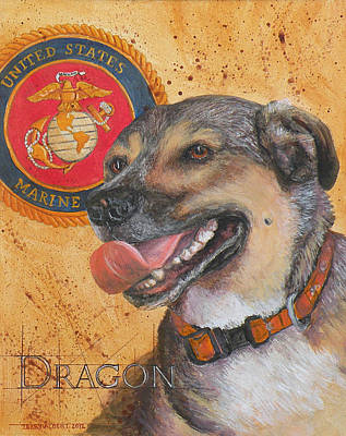Painting - Marine Dog Dragon by Terry Albert