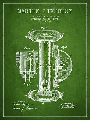 Marine Lifebuoy Patent From 1894 - Green Art Print by Aged Pixel