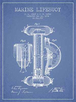 Lifebelt Drawing - Marine Lifebuoy Patent From 1894 - Light Blue by Aged Pixel