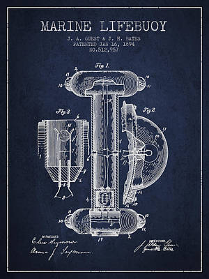 Lifebelt Drawing - Marine Lifebuoy Patent From 1894 - Navy Blue by Aged Pixel