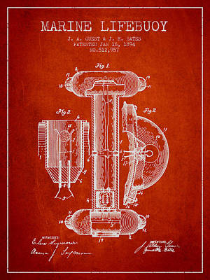 Lifebelt Drawing - Marine Lifebuoy Patent From 1894 - Red by Aged Pixel