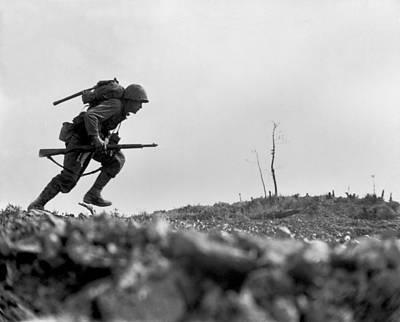 Photograph - Marine Pfc. Paul E. Ison Runs by Everett