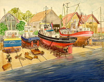 Painting - Marine Railway At Urk by Vic Delnore