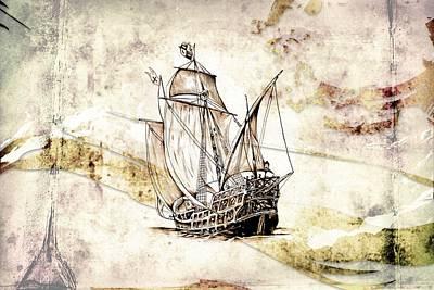 Historic Schooner Digital Art - Marine Sea 03 by Rafal Kulik