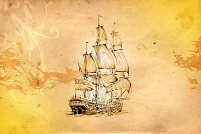 Historic Schooner Digital Art - Marine Sea 04 by Rafal Kulik