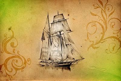 Historic Schooner Digital Art - Marine Sea 05 by Rafal Kulik