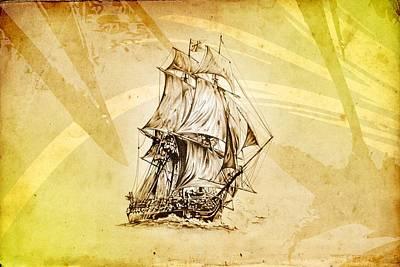 Historic Schooner Digital Art - Marine Sea 06 by Rafal Kulik