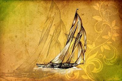 Historic Schooner Digital Art - Marine Sea 13 by Rafal Kulik