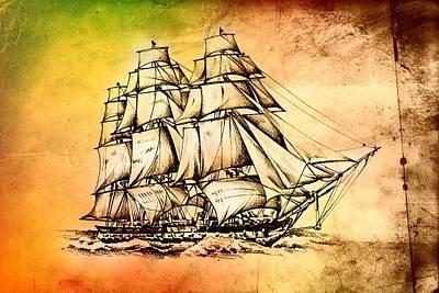 Historic Schooner Digital Art - Marine Sea 36 by Rafal Kulik