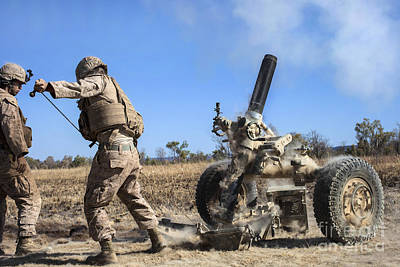 Marines Fire A 120mm Mortar Art Print by Stocktrek Images