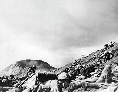 Photograph - Marines Land On Iwo Jima by Underwood Archives