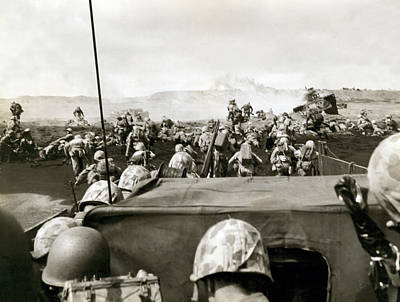 Second Day Of Battle Photograph - Marines Landing On Iwo Jima by Underwood Archives