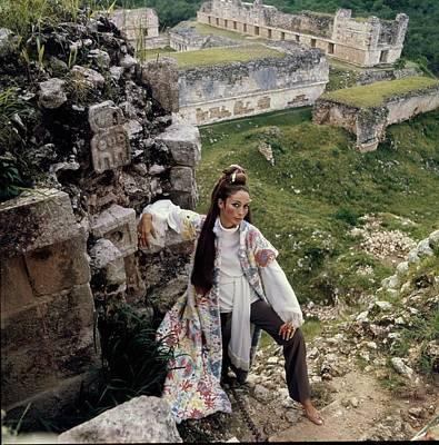 Photograph - Marino Schiano Wearing A Paisley Cape by Henry Clarke