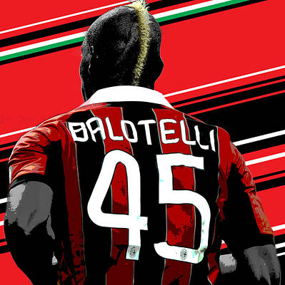 Decorative Wall Art - Photograph - Mario Balotelli Ac Milan Print by Pro Prints