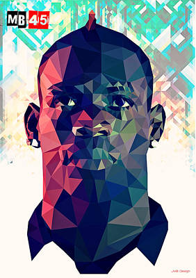 Mario Balotelli Print by Lionel Emanuelson