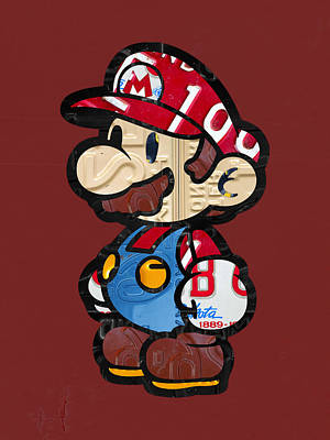 Mario Brothers Nintendo Original Vintage Recycled License Plate Art Portrait Art Print