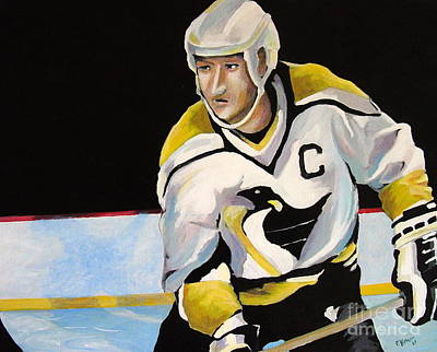 Hockey Art Painting - Mario Lemieux The Penguin That Saved Pittsburgh by Philip Kram