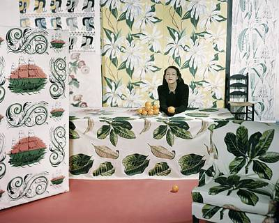 Photograph - Marion Dorn Surrounded By Assorted Textile by Horst P. Horst
