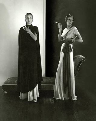 Marion Morehouse And Ruth Covell Wearing A Cape Art Print