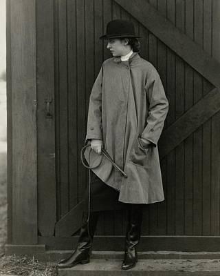 Marion Morehouse Wearing A Mackintosh Jacket Art Print