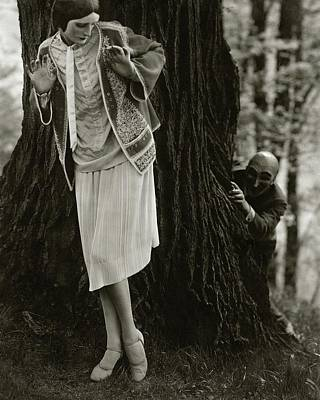 1920s Fashion Photograph - Marion Morehouse With A Man Behind A Tree by Edward Steichen