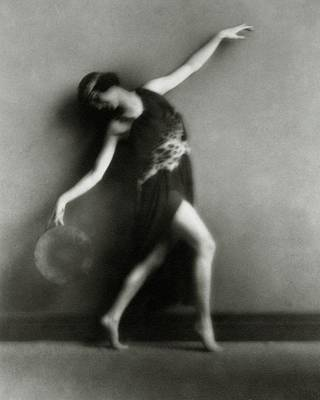 Dance Studio Photograph - Marion Morgan Posing With A Drum Head by Arnold Genthe
